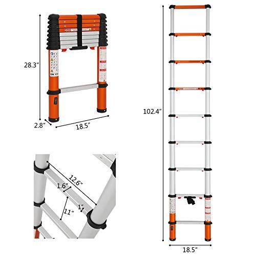 Luisladders Telescoping Ladder Multi-Use Telescopic Extension Ladder Anti-Pinch and Anti-Slip (8.5 Feet)