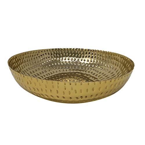LaLe Living orientalische Schale - Kabuk - im gehämmerten Look aus Eisen in Gold, Ø25cm als Metall Schüssel für Obst, Salat oder als Brotkorb verwendbar