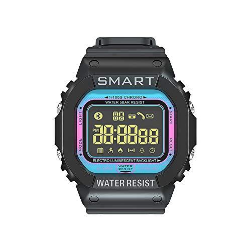 HZZ Deportes Al Aire Libre Luminosos Inteligentes Reloj Impermeable, Rastreador Par La Salud, Podómetro, Bluetooth, Función De Análisis del Sueño, Compatible con Los Teléfonos Android Y iOS,Azul