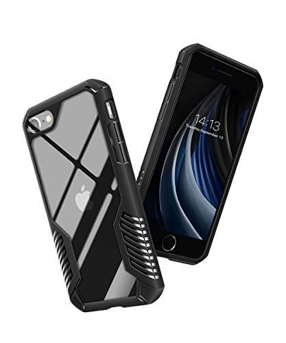 MOBOSI Vanguard Armor Entwickelt für iPhone SE 2020 Hülle/iPhone 8 Hülle/iPhone 7 Hülle, Hochleistungs-Stoßschutzabdeckung in Militärqualität für iPhone SE2/8/7 4,7 Zoll 2020 (Schwarz)