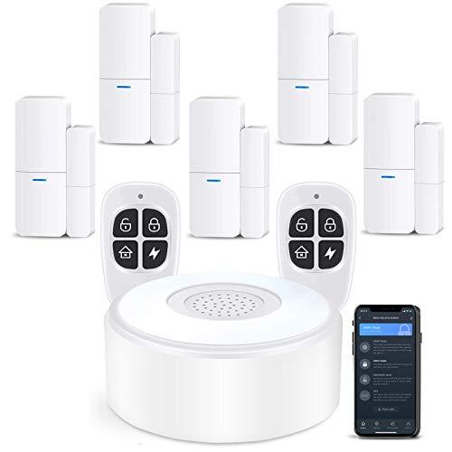 Agshome antirrobo casa alarma móvil del hogar, kit de alarma antirrobo con 1 sirena, 5 sensores de puerta y ventana y 2 controles remotos, a través de la aplicación, compatible con Alexa