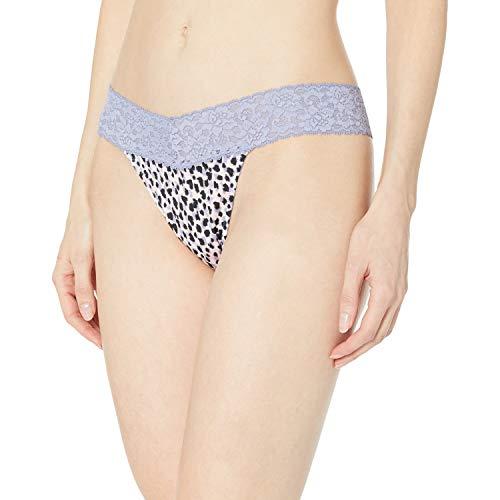 Maidenform Women's Dream with Lace Thong, Gentle Animal Print Plum Grey, Small/Medium