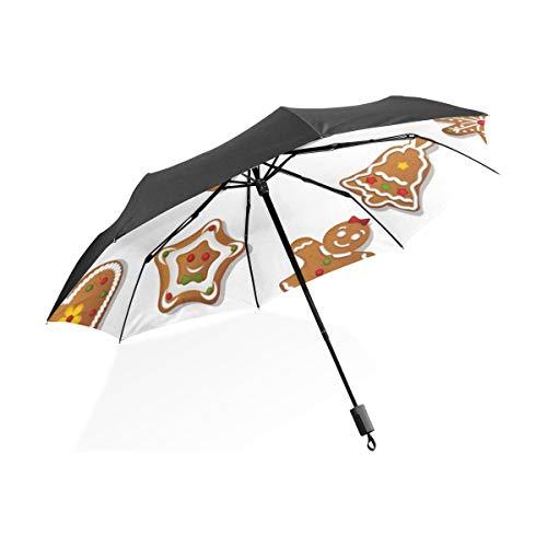 Phantasie Regen Regenschirm Lebkuchen Kekse Süße Keks Tragbare Kompakte Taschenschirm Anti Uv Schutz Winddicht Outdoor Reise Frauen Regen Regenschirme Für Mädchen