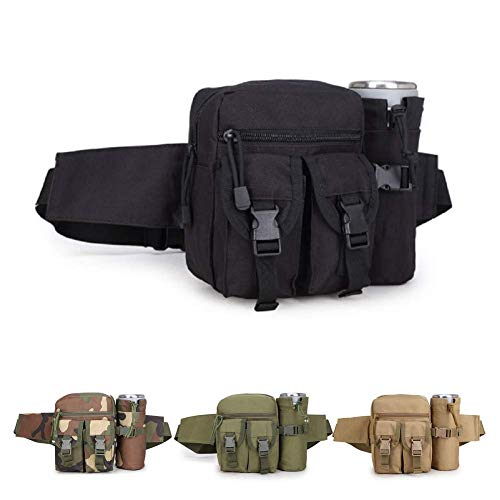 HYCOPROT Tactical Waist Bag Military Fanny Pack Adjustable Sling Bag with Water Bottle Pouch for Fishing Hunting Camping Hiking (Black)