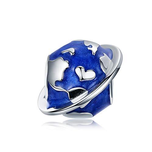Abalorio de plata de ley compatible con pulseras Pandora para mujer, esmalte azul de la tierra para hacer joyas