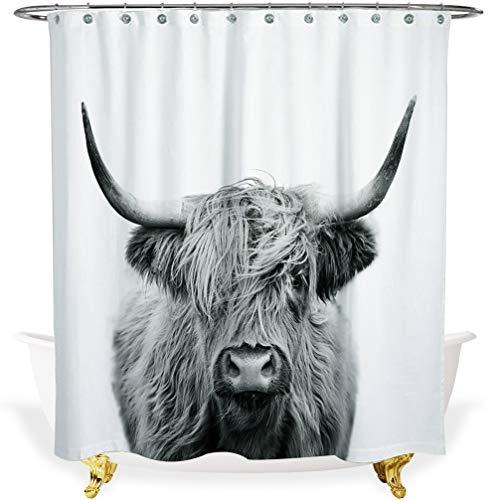 Cow Shower Curtain - White Shower Curtains for Bathroom Decor,72-inch Waterproof Fabric Bath Farm Curtain,Black and White Gray 3D Art Print,Modern Stall Cloth Luxury Curtain (72x72,Grey Highland Cow)