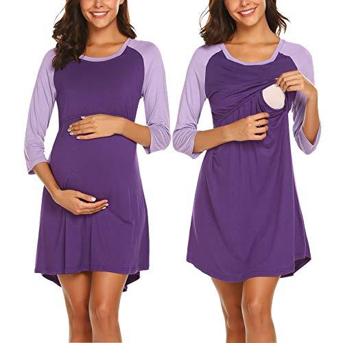 Ekouaer Womens Maternity Dress Nursing Nightdress Breastfeeding Sleep Dress Nightie Lavender