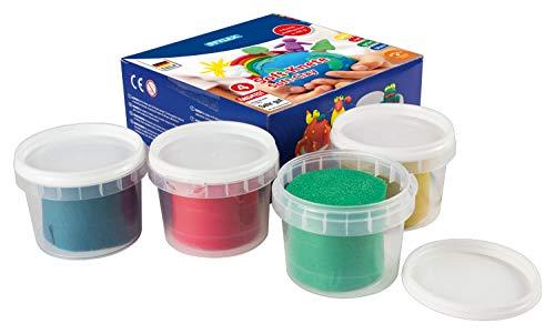Stylex 28322 - Soft-Knete, weiche Knete für Kinder zum Spielen, Formen und Modellieren, 4 Töpfchen mit 100 g in rot, blau, grün und gelb