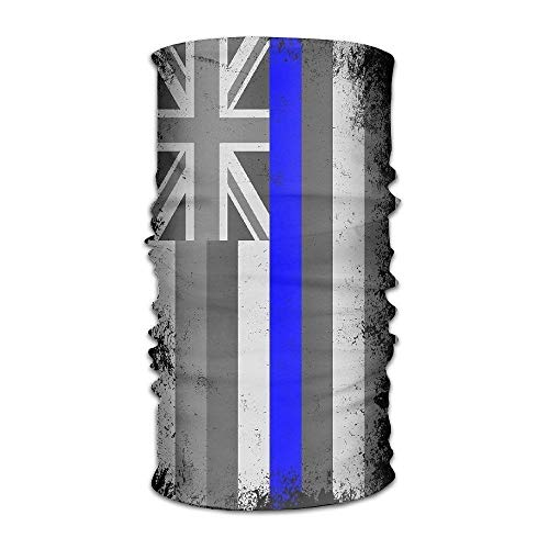 dingjiakemao Hawaii State Flag Thin Blue Line Quick Dry Microfiber Headwear Outdoor Magic Bandana As Neck Gaiter Head Wrap Headband Scarf Face Mask Ultra Soft Elastic One Size