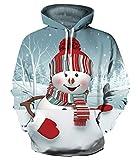 YTTde Sudadera con capucha unisex con estampado digital 3D, diseño de muñeco de nieve, informal, manga larga, con capucha, para parejas, uniforme de béisbol con bolsillo, XXXL