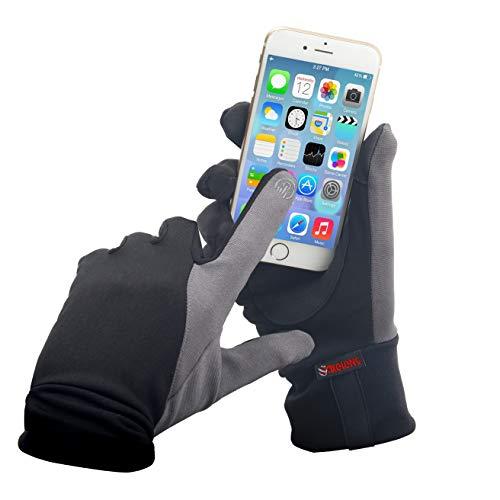 AXELENS Guanti Uomo Donna Touch Screen Sportivi Running Corsa Mtb Moto Capacitivi Invernali Caldi per Smartphone Cellulari e Tablet Taglia L Nero e Grigio