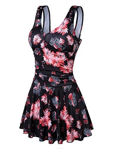 Clearlove Damen Badeanzug Einteilige Leopardenmuster Bademode Figurformend Bauchweg Bikini Große Größe Strandmode,Schwarz Rosa Blumen,XL