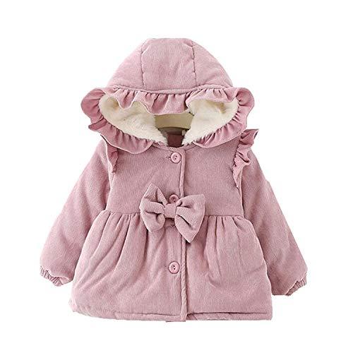 Carolilly Cappotto Invernale da Bambina Neonata con Cappuccio Manica Lunga alla Moda Giacca Invernale Caldo Tinta Unita per Neonate (Rosa, 9-12 Mesi)