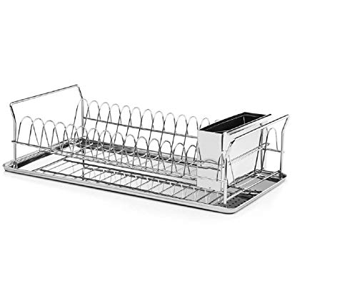 Over Sink Durable Modern Design Stainless Steel Kitchen Dish Drainer Rustproof Heavy Duty On Counter Glasses, Bowls, Dishes Drying Rack-Compartment for Silverware, Cutlery Holder and Plastic Drip Tray