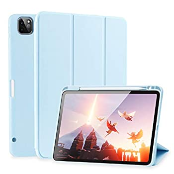 SIWENGDE Case for iPad Pro 11 Inch 2020 2nd Generation Support iPad 2nd Pencil Charging & Pair Slim Lightweight Trifold Stand Smart Protective Case Cover for Kids Auto Wake/Sleep  Light Blue