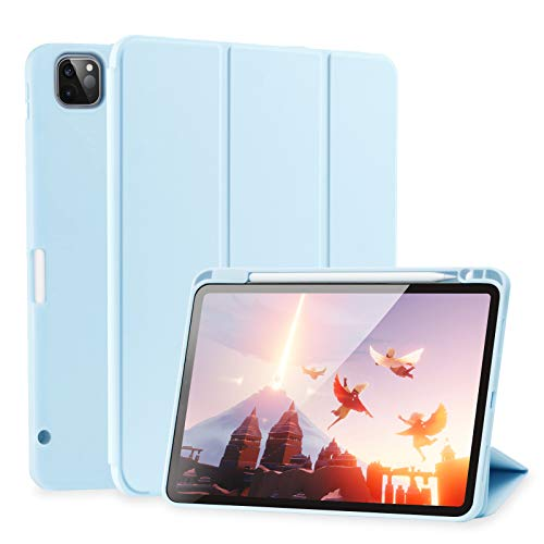 SIWENGDE Case for iPad Pro 12.9 case 4th Generation 2020 Support Apple 2nd Pencil Charging & Pair, Slim Lightweight Trifold Stand Smart Protective Case Cover for Kids (Light Blue).