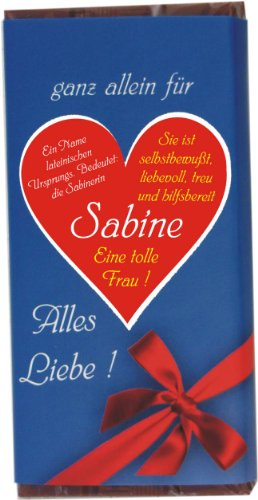 """Schokolade \""""ganz allein für Sabine\"""" 100 g"""