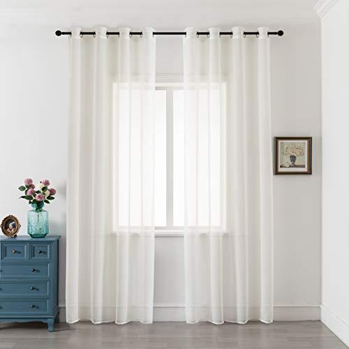 GIRASOLE Par de cortinas de gasa transparentes efecto lino para salón, dormitorio, balcón, ventana e interior, 2 paneles con ojales (crema, 140 x 290 cm)