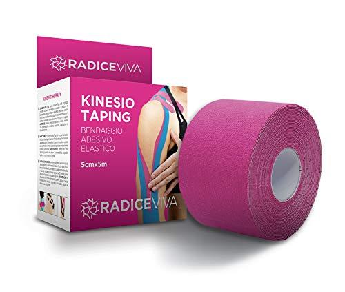 RADICEVIVA KINESIO Taping Bendaggio Adesivo Elastico Muscolare per KINESIOTHERAPY-5cmX5m-E-BOOK SCARICABILE con Istruzioni D'USO-Ideale per Atleti E Sportivi (Colore Fucsia)