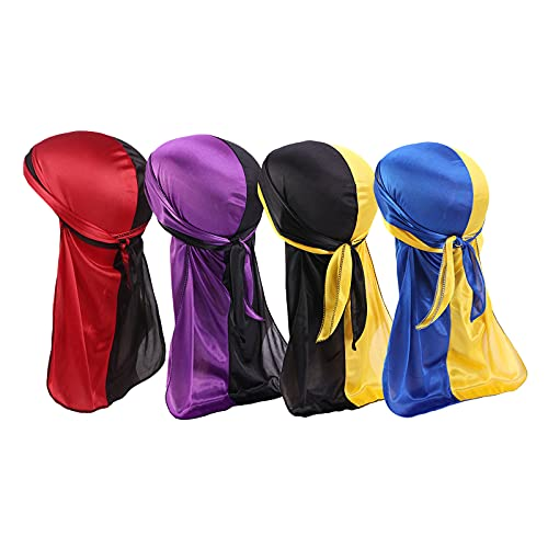 4 Pieces Silky Durag for Men and Women,Two Tone Waves Silk Durags with Long Tail,Super Soft Satin Breathable Pirate Hat…