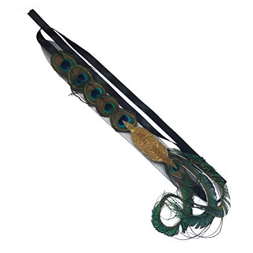 Lurrose Pluma del Pavo Real de la Boda con Cuentas de Oro del Tocado del Pelo del Pelo decoración de la Venda del Pelo para la Dama de Honor de la Novia (Color Natural)