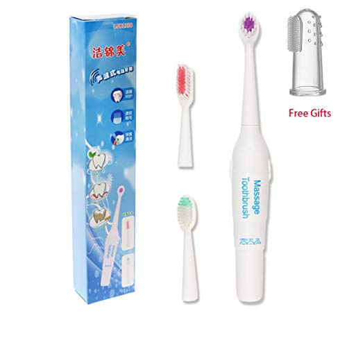 Simfine Pet Electronic Toothbrush Dog Tartar Cleaner Electric Professional Teeth Polisher Pet Calculus Plaque Stains Teeth Cleaner with 3 Brush Head Puppy Dental Scaler Care Cleaning Tools Kit for Dog