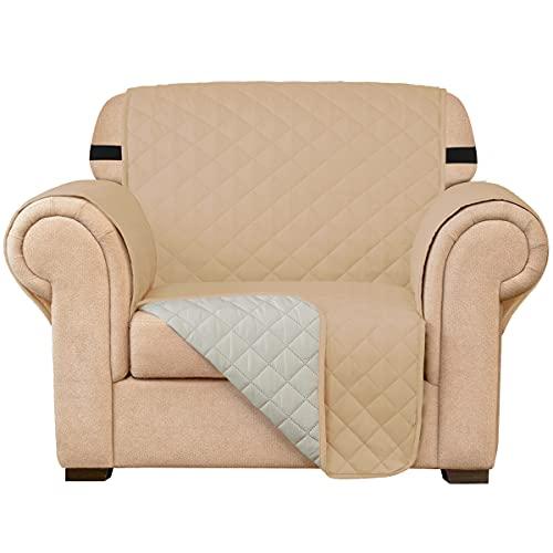 subrtex Gesteppt Sofabezug Reversibel Möbelschutz mit Gummiband schonbezug Sessel Möbelschoner Stuhlüberzüge für Wohnzimmer Sofas(1 Sitzer,Sandfarbe)