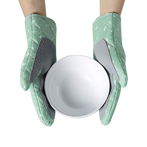 Xinyanmy Ofenhandschuhe 1 Paa,Handflächen aus Silikon,Hitzebeständige Topflappen Handschuh Anti-Rutsch Geeignet für Kochen,Backen,Grillen