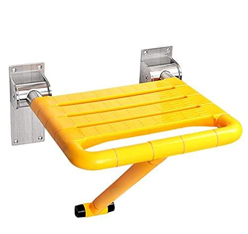 chaozhi Asientos de Ducha con Pata, Silla de baño de Pared para Personas Mayores, discapacitadas y discapacitadas, Dispositivo de Seguridad Plegable para el baño-Yellow