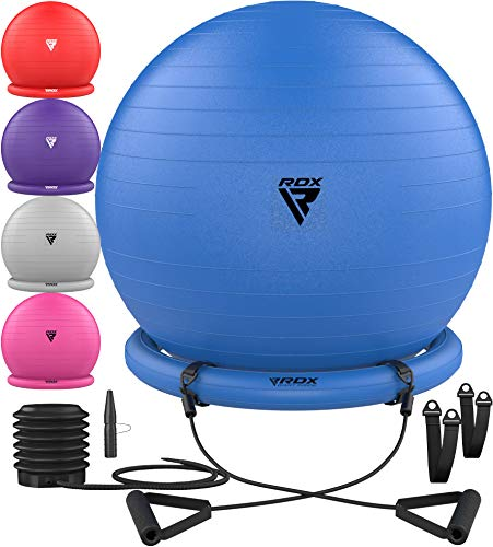 RDX Gymnastikball mit Widerstandsbänder Stabilitätsbasis, Extra Dicker Sitzball Yoga Pezziball Fitness Pilates Stuhl, Anti-Berst Balance Ball Luftpumpe Schwangerschaft Büro Hause Fitnessstudio 250kgs