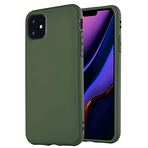 Compatible with iPhone 11 Case,Manleno Slim Fit Full Matte Skin Case 1.5mm Thick Soft Flexible TPU Cover Case for iPhone 11 6.1 inch (Hunter Green)
