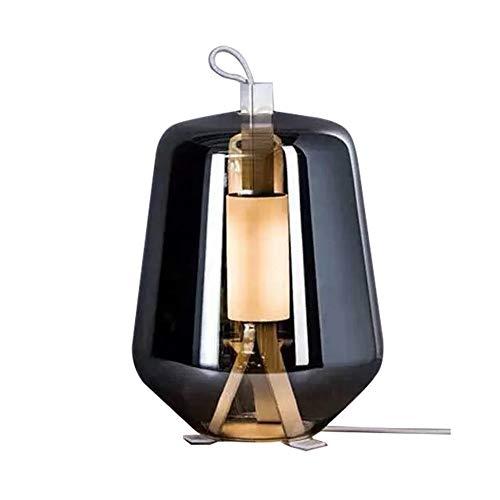 JJZXD Lámpara de Mesa LED for el Estudio cabecera de la habitación Interior decoración de la Barra Tabla luz Creativa Moderna de Cristal Gris Ahumado iluminación del Escritorio