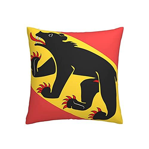 Kissenbezug mit Bern-Flagge, Baumwolle, Leinen, quadratisch, 45,7 x 45,7 cm