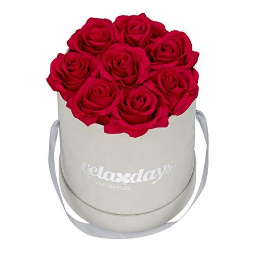 Relaxdays Rosenbox rund, 8 Rosen, stabile Flowerbox grau, 10 Jahre haltbar, Geschenkidee, dekorative Blumenbox, rot