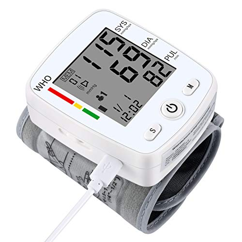 U-Kiss Tensiómetro de muñeca, monitor de presión sanguínea para el hogar o portátil (blanco)