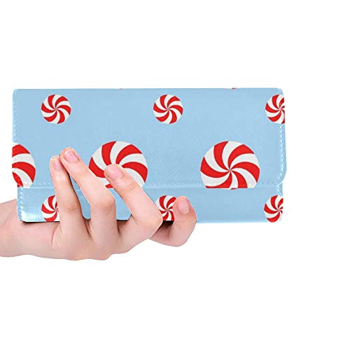 Einzigartige benutzerdefinierte Weihnachten Pfefferminzbonbons Frauen Trifold Brieftasche Lange Geldbörse Kreditkarteninhaber Fall Handtasche