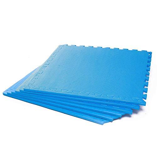 #DoYourFitness x World Fitness Puzzlematte »PuzzleMe« - Rutschfest & Wasserabweisend - 6 Puzzle Unterlegmatten Fitnessmatte Bodenschutz Matte - Training Fitness Büro - 60 x 60 x 1,2 cm - blau