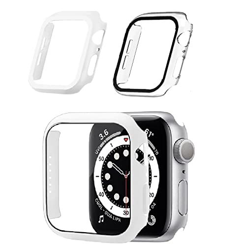 2pcs For Apple Watch Case 45mm Series 7 Protective Case Slim Matte Hard Cover Screen Protector, Integrated Design Screen Protector and Case (White+Transparent,41mm)