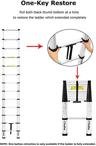 Ohuhu 3.8m Telescoping Ladder, Aluminum Telescopic Extension Ladder, ONE-BUTTON RETRACTION Telescoping Ladder, EN131 Certified Extendable Ladder, 330 pound/150 kg Capacity