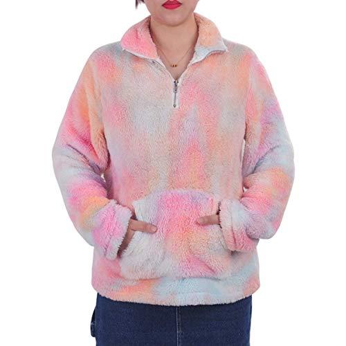 LIVACASA Sweatshirt Damen Winter Warm Hoodie Oversized Weich Mädchen Teddy Fleece Pullover Flauschig Winterpullover Sweater Langarm Pulli mit große Tasche Tiedye Orange S