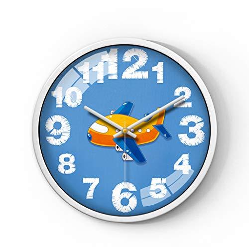 HeWenHui-Multifunktion Cartoon Väggklocka, Blåklockan Face Vit arabiska siffror Väggklocka klassrummet Väggklocka Gift Shop Väggklocka Inkluderar inte batteri (Color : H, Size : 35.5 * 35.5cm)
