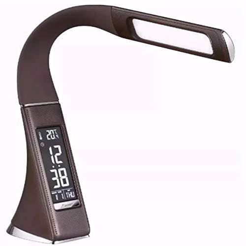 Luminária de Mesa com Relógio Despertador Led Soft Eye Protection YZ-U2 (Marrom)