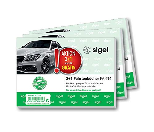 SIGEL T1179 Fahrtenbücher für PKW, 3er Set (3xFA614: A6 quer, 80 Seiten) - für Deutschland und Österreich, vom Finanzamt anerkannt