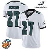 LIUSHAO NFL Eagles De Philadelphie # 27 Malcolm Jenkins Fan Jersey Broderie Courte SleeveSport T-Shirt Américain Sweat-Shirt De Football White-S