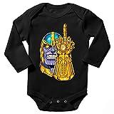 OKIWOKI Avengers Lustiges Schwarz Langärmliges Baby Strampler - Thanos (Avengers Parodie) (Ref:1078)