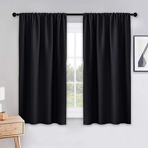 PONY DANCE Black Out Window Curtains - 2 Panels Thermal Curtain Drapes Insulated Window Treatments Light Block Short Blinds Rod Pocket for Small...