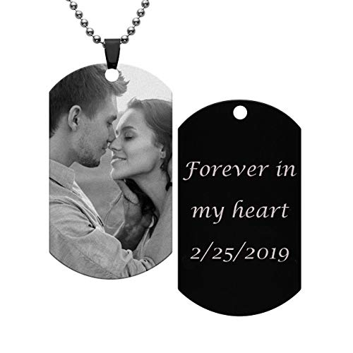Personalized Master Custom Photo Text Dog Tags Pendant Customized Picture Necklace Valentine's Day Birthday Gift for Men Women