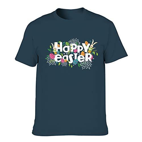 Camiseta de tirantes para hombre, diseño con texto en alemán 'Frohe Ostereier Rabbit Print' azul marino L