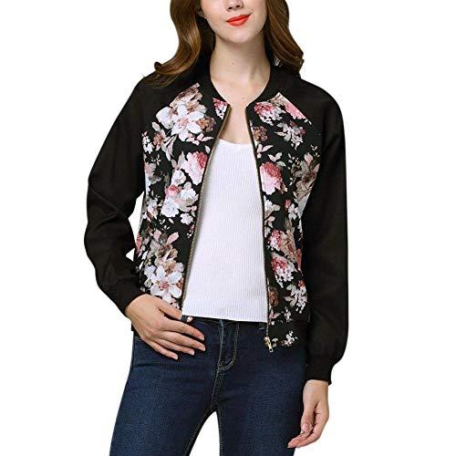 Bomber Jas Dames Vintage Mode Bloemen Print Outwear Lange Eenvoudige Glamoureuze Mouw Stand Collar Casual Elegante Lente Herfst Vlucht Jas