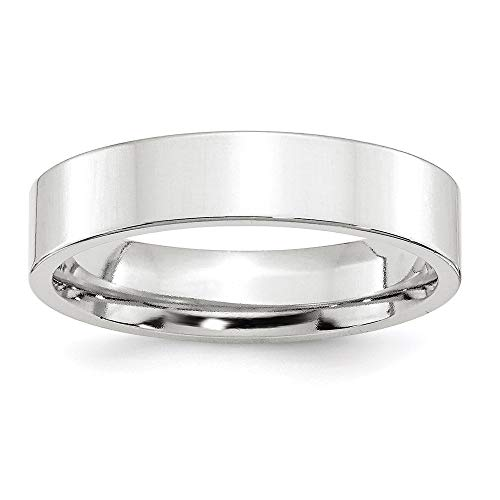 14k White Gold 5mm Standard Flat Comfort Fit Wedding Band Ring, Size 7.5